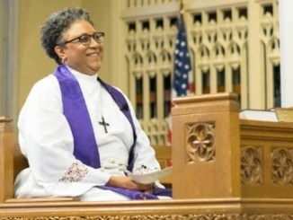 """""""I just feel so excited and so hopeful about the opportunity to partner with others to present the Episcopal Church to those who would not have otherwise considered be- coming a part of this denomination."""" – Bishop-elect Phoebe Roaf (Photo: Cindy McMillion)"""