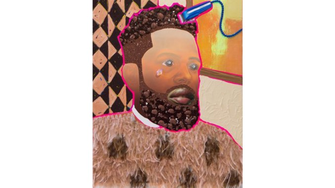 """""""Mighty Mighty"""" art installation by Devan Shimoyama is the centerpiece of """"The Barbershop Project,"""" at the THEARC. This piece is called """"Bobby."""" (Courtesy Photo)"""