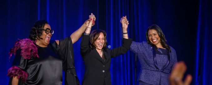 """""""We can tell the stories that connect our communities and people who want to talk to our communities know they have to use the Black Press to do so,"""" said Sun Reporter Publisher Amelia Ashley Ward, adding that she doesn't take for granted that the paper is still in business. Accompanying Ward (left) in this photo are U.S. Senator Kamala Harris (D-CA) (center) and London Breed, Mayor of San Francisco."""