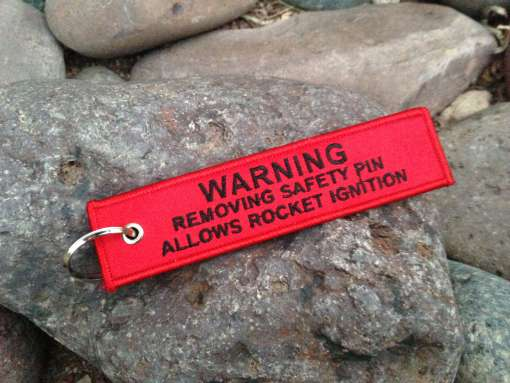BlackSheepWarrior Warning Pin Tag Keychain