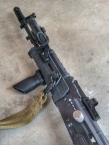 The Attero Arms sits low on the rifle and does not interfere with the CSS Lightning Bolt (ambi charging handles) installed on this gun.