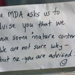 Handwritten note about MDA advisory about mature content