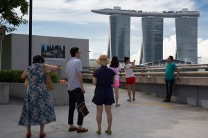 Tourists in Front of Marina Bay Sands