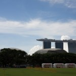 Padang, in Singapore, with Marina Bay Sands in the background