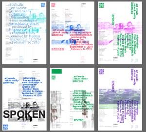 grid of minimalist text patterns