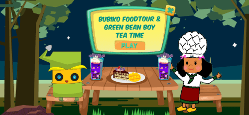Hummingbirdsday provides the best branding and marketing solutions for tech startups. This screen capture features a game idea featuring Green Bean Boy, a character developed by Dominique Wu, the founder of Hummingbirdsday. Here Green Bean Boy enjoys a meal with Bubiko Foodtour.