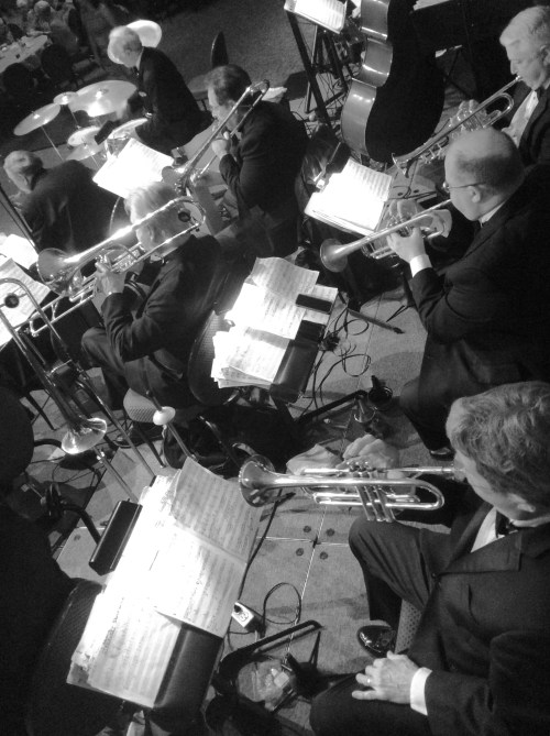 overhead black and white image of  a big band