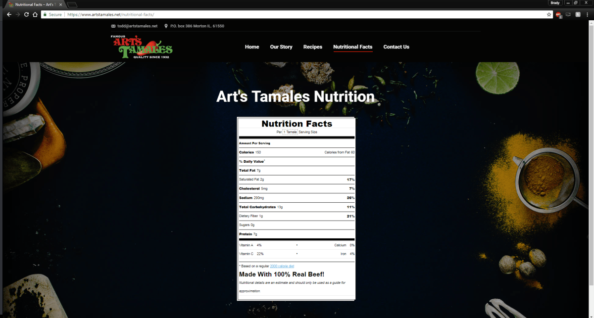 arts-tamales-nurtritional-facts-blackstone