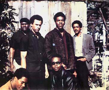 "Original six Black Panthers (November, 1966) Top left to right: Elbert ""Big Man"" Howard; Huey P. Newton (Defense Minister), Sherman Forte, Bobby Seale (Chairman). Bottom: Reggie Forte and Little Bobby Hutton (Treasurer)."