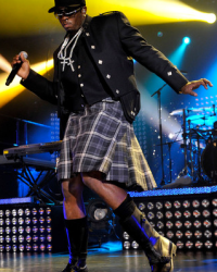 Diddy wears a kilt during his tour with Dirty Money for MTV's Crash Glasgow on September 2010
