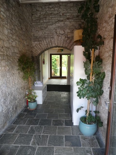 Passageway leading from the Courtyard to the Walled Garden with Synolda Dormitory 1 on the left and Ellen Dormitory 2 on the right.