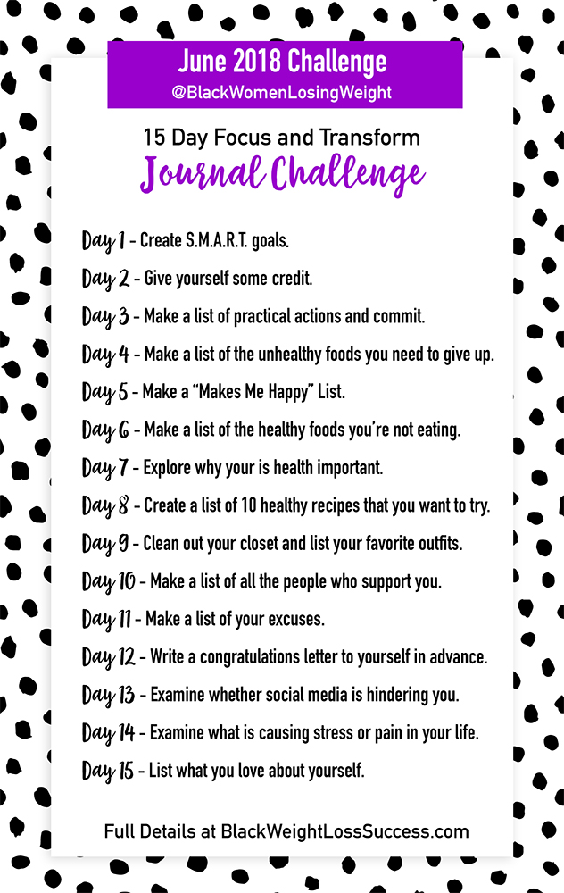 15 Day Focus And Transform Journal Challenge Black Weight Loss Success
