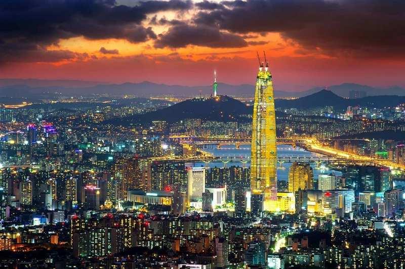 panorama kota seoul di malam hari, korea selatan