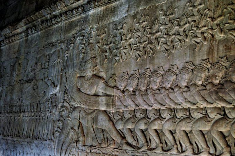 relief angkor wat churning of the ocean of milk, kamboja