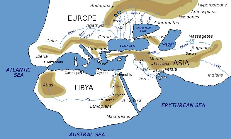 Peta dunia berdasar yang diyakini Herodotus