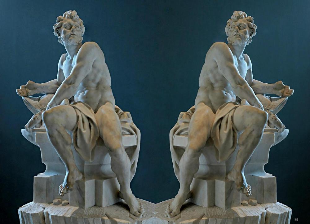 Patung Marmer Dewa Api Hephaestus (1742) karya Guillaume Coustou