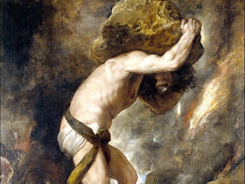 sisyphus menjalani hukuman dengan mengangkat batu ke bukit