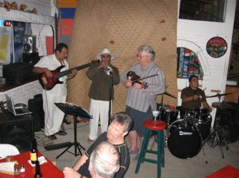 Blaine with Marcos Milagres, a Cuban trumpet player, and a local drummer