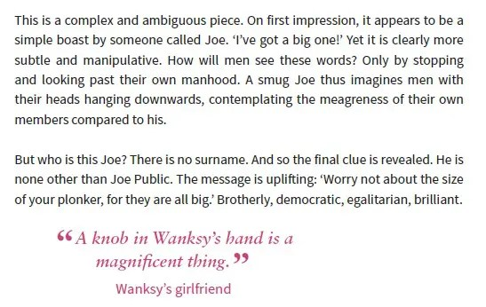Text from the book Wanksy about Joe having a big knob