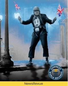Image of Boris Johnson on a zip wire