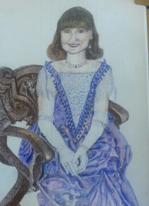 Drawing of young woman in fancy dress