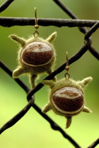 Autumn Earrings with Spiky Chestnuts Designed for Fall
