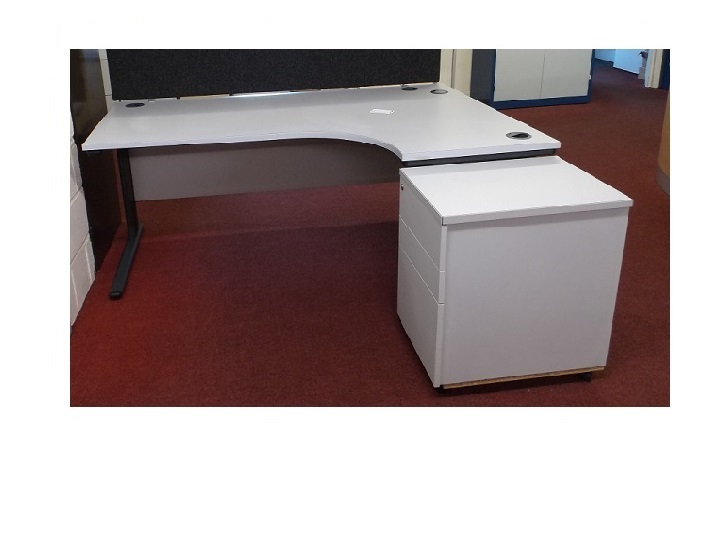 L GREY CORNER DESK AND PED RH  Blandford Office Furniture