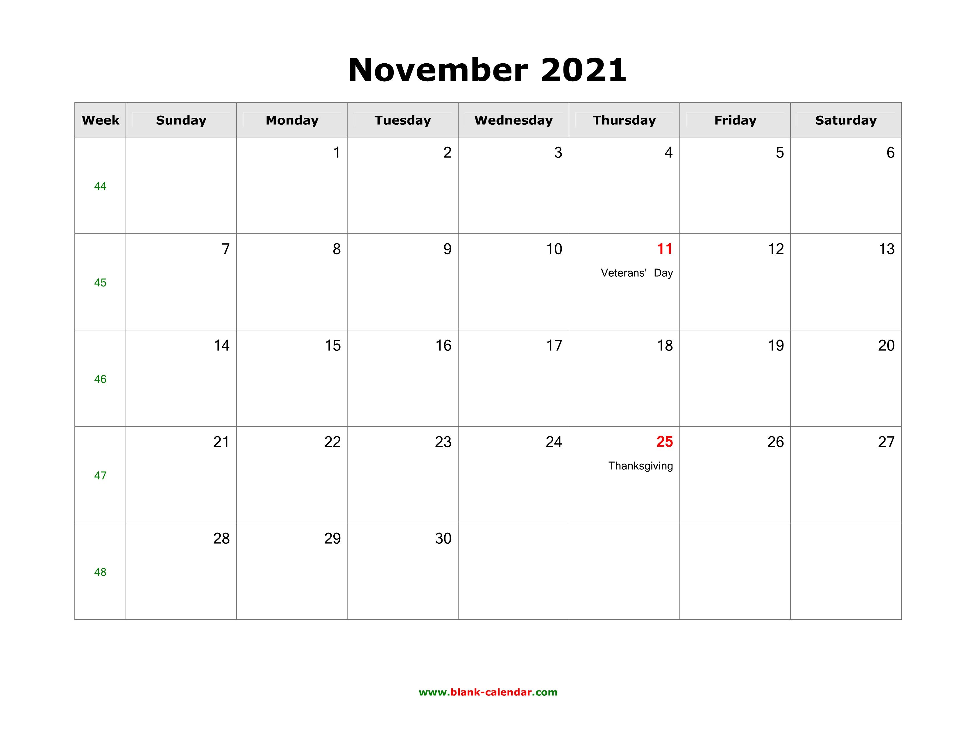 November 2021 Blank Calendar   Free Download Calendar ...