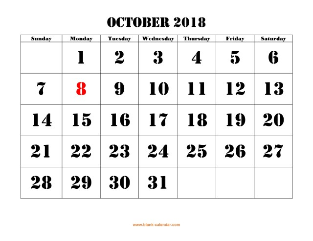 october 2018 calendar with holidays free download