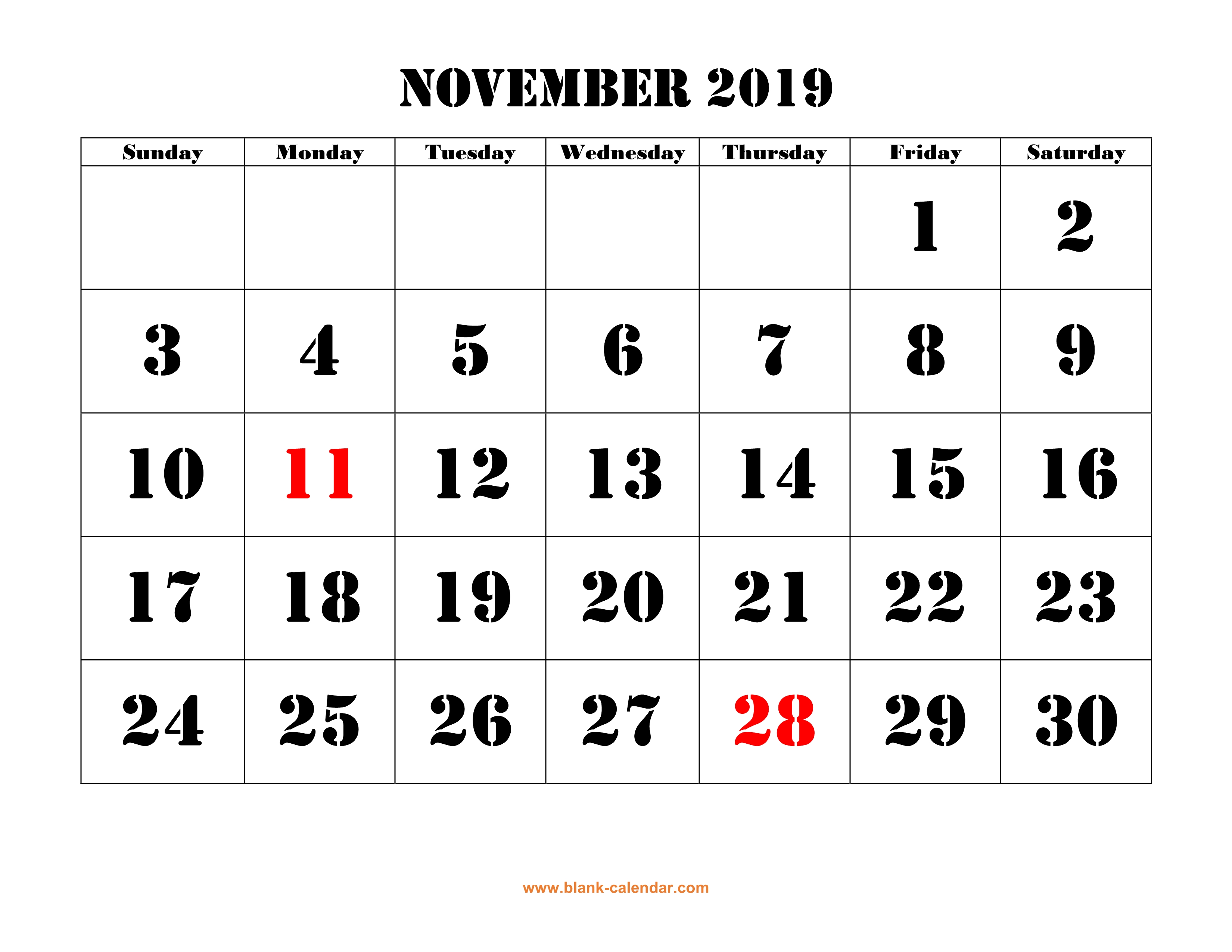 Free Download Printable November 2019 Calendar, large font ...