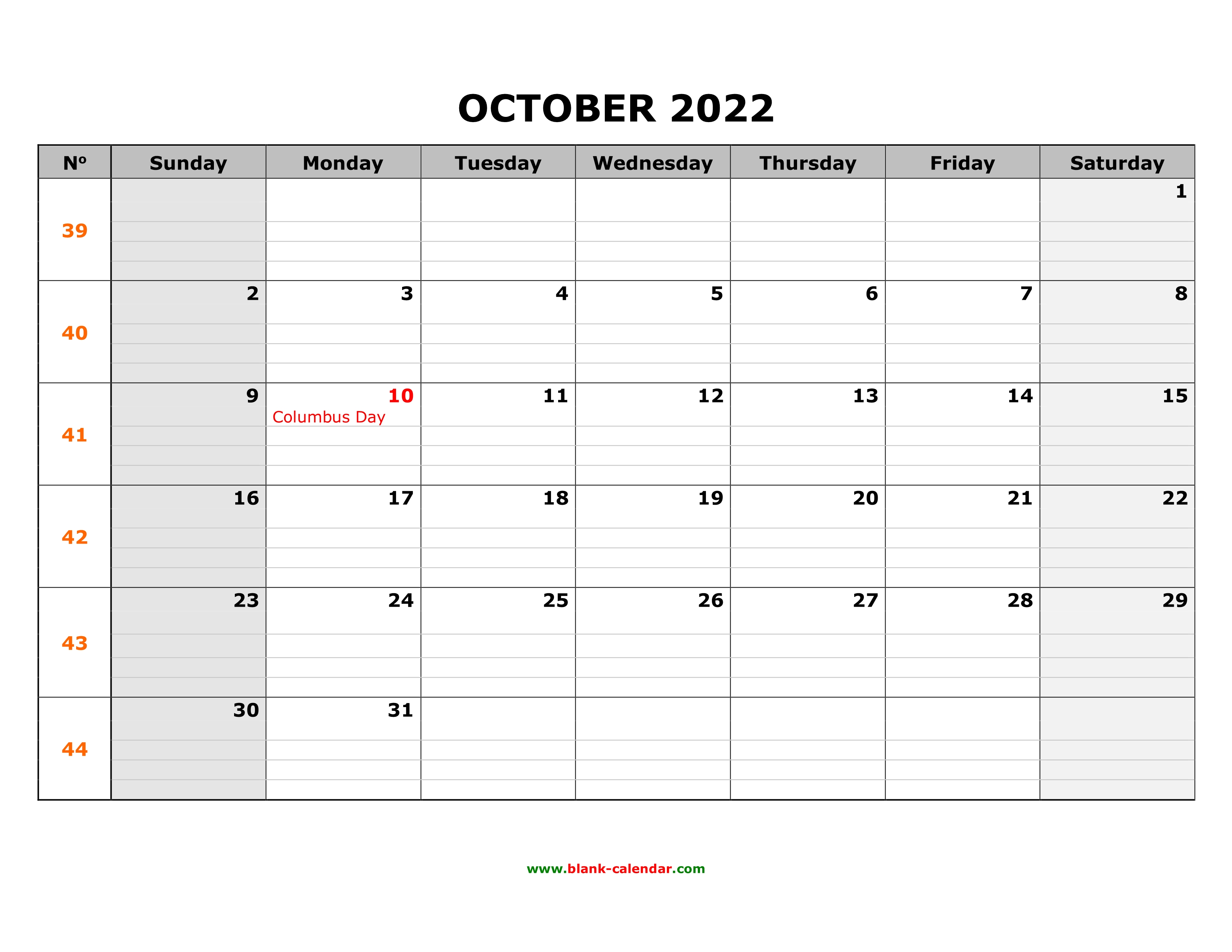 Prior month expectations as reported by reuters last week&aposs ca. Free Download Printable October 2022 Calendar, large box ...