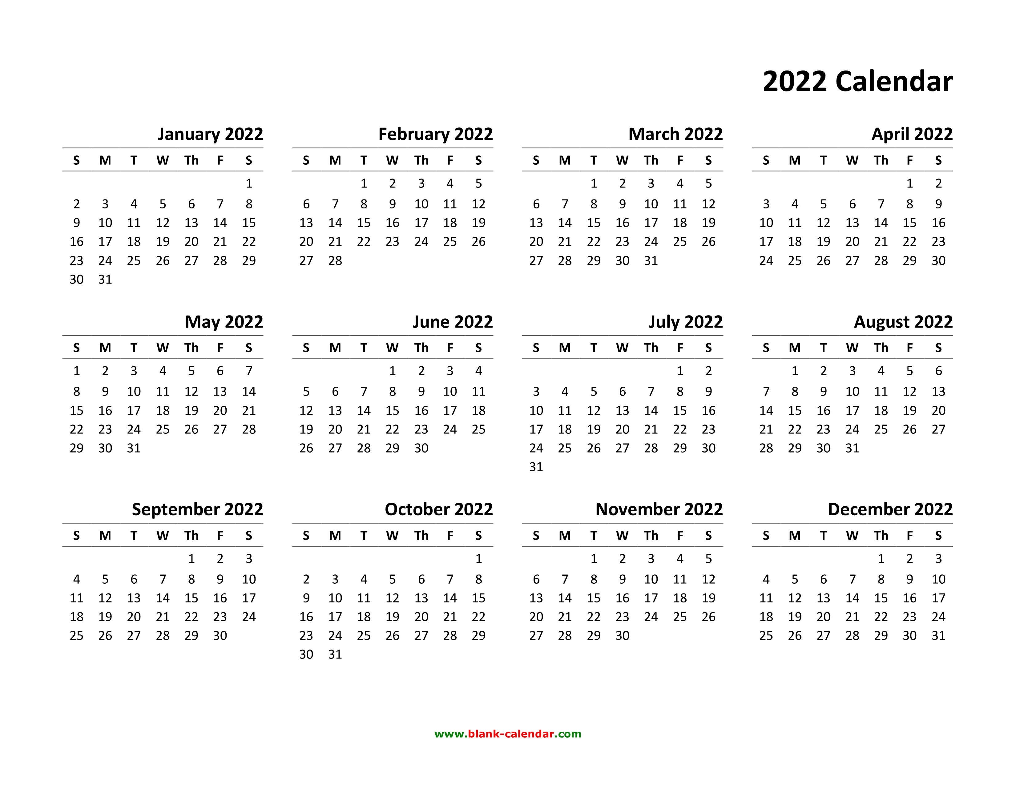 Free printable 2022 yearly calendar with holidays image preview. Yearly Calendar 2022   Free Download and Print