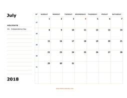 July 2018 Printable Calendar | Free Download Monthly Calendar Templates