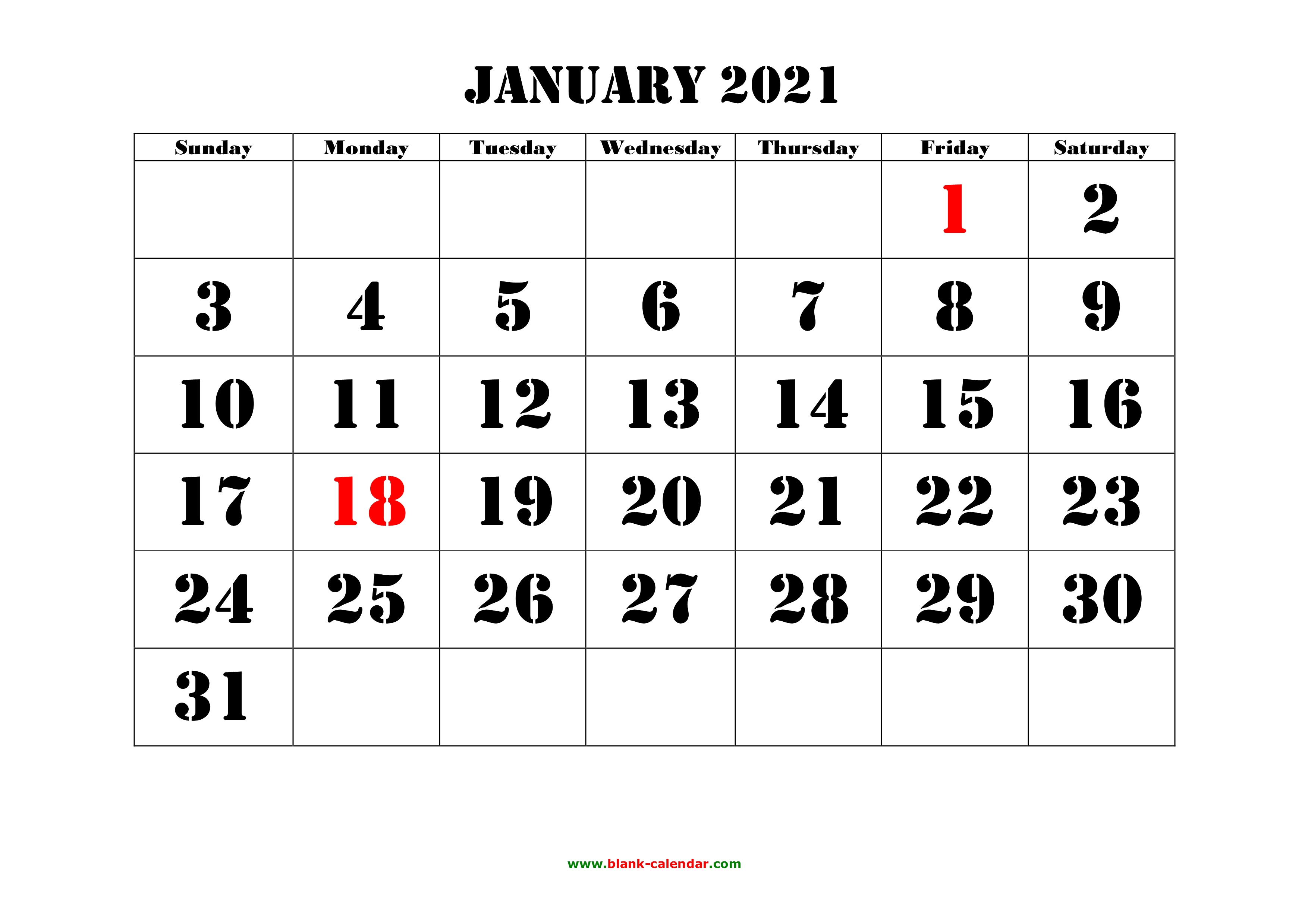 January 2021 Printable Calendar | Free Download Monthly ...