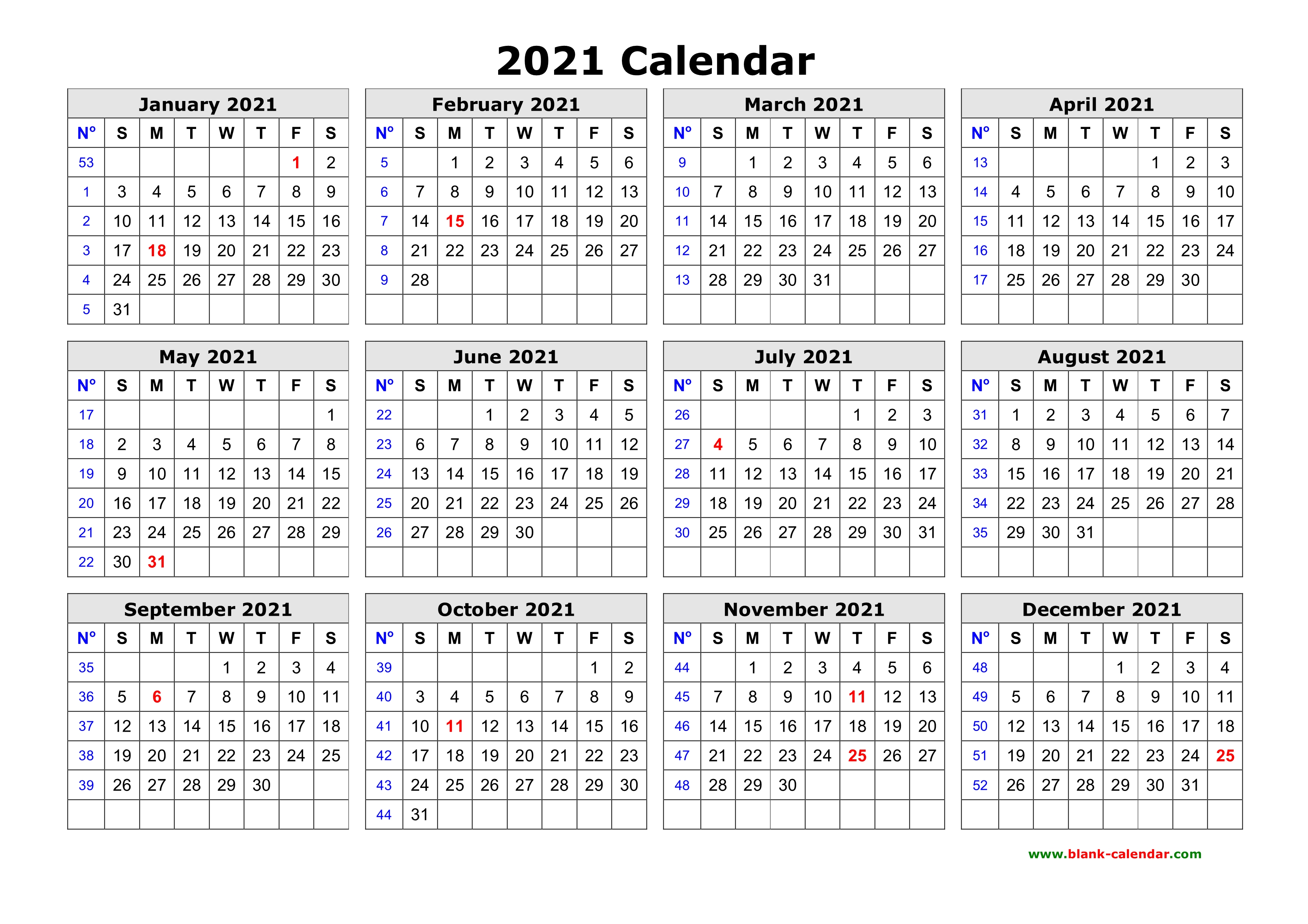 Free Download Printable Calendar 2021 in one page, clean ...