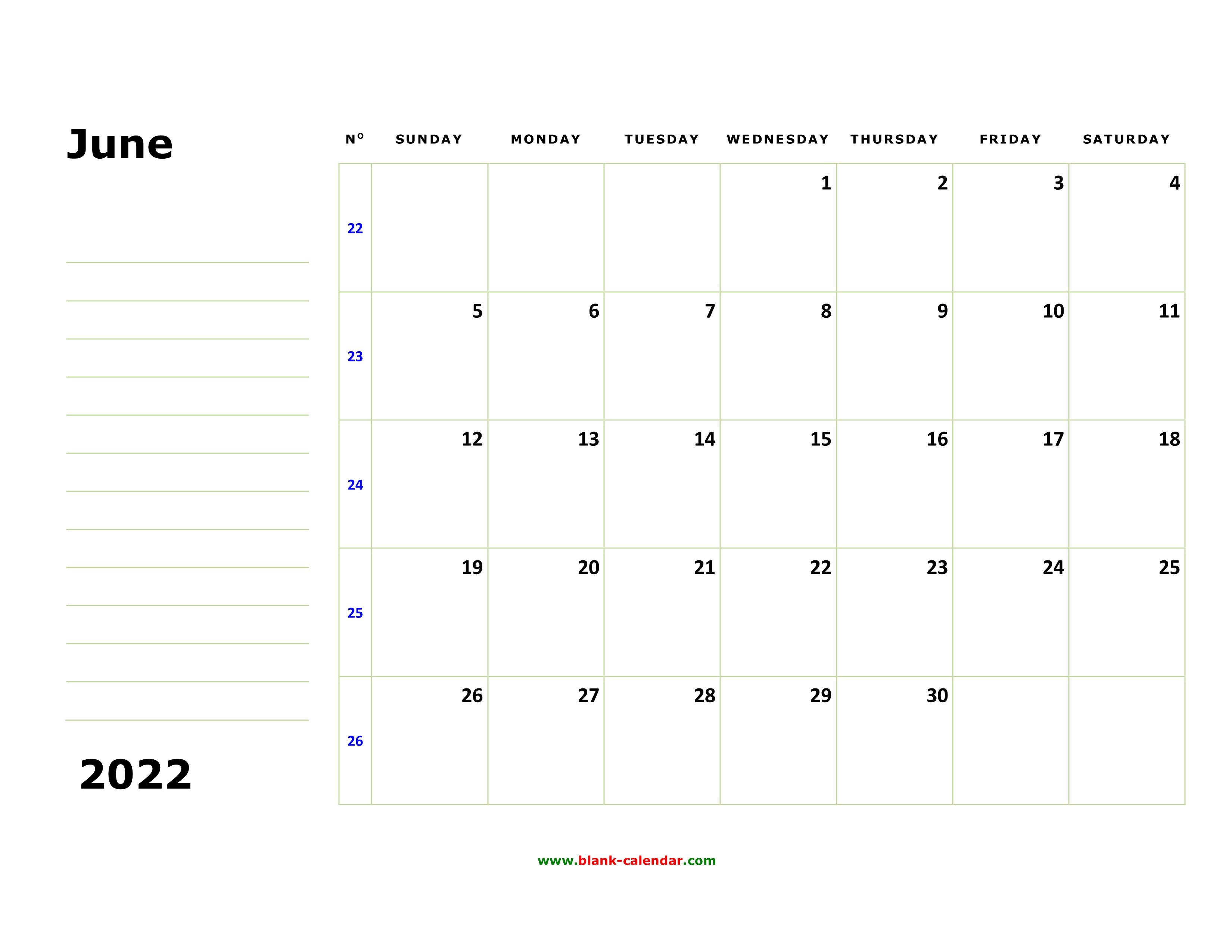 Free Download Printable June 2022 Calendar, large box ...