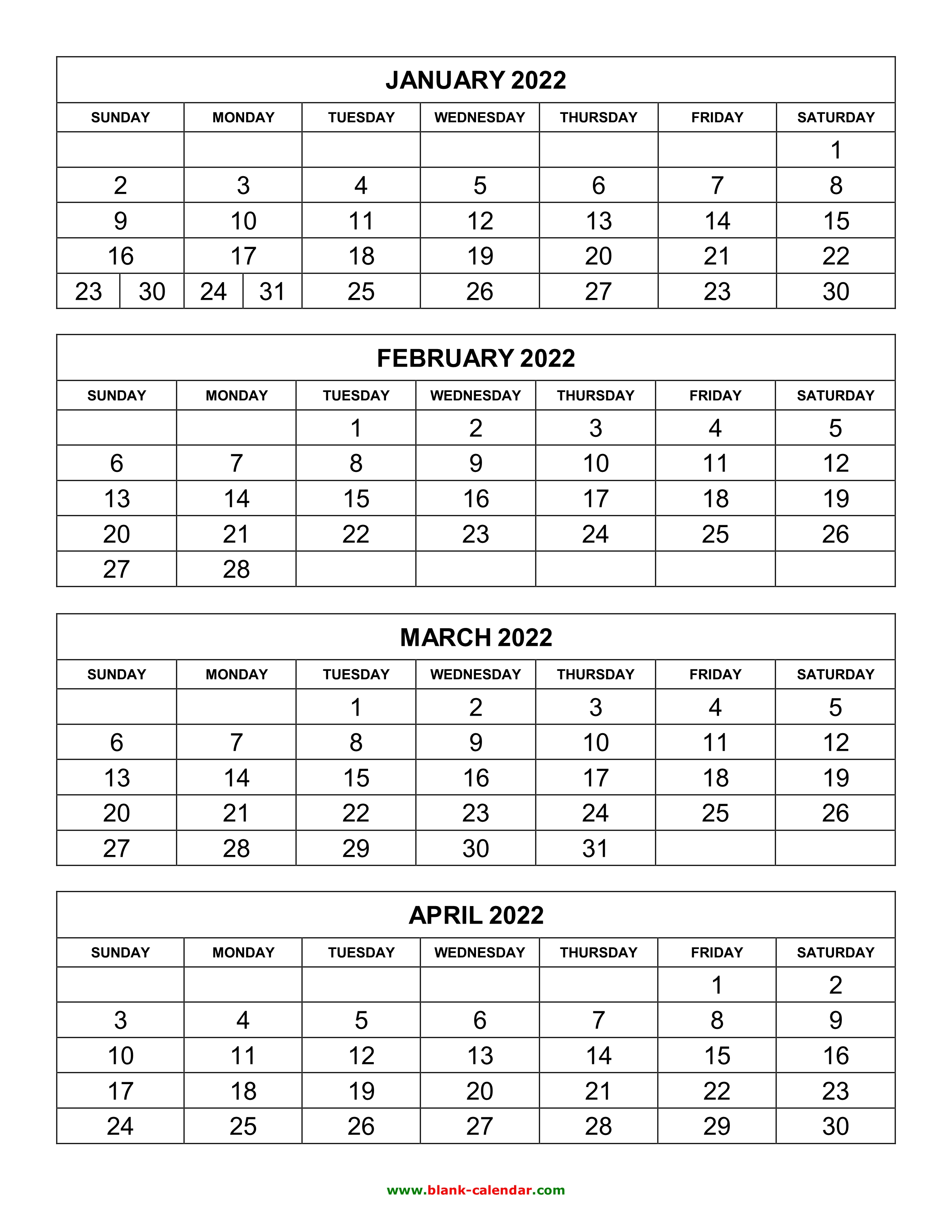 Free Download Printable Calendar 2022, 4 months per page ...