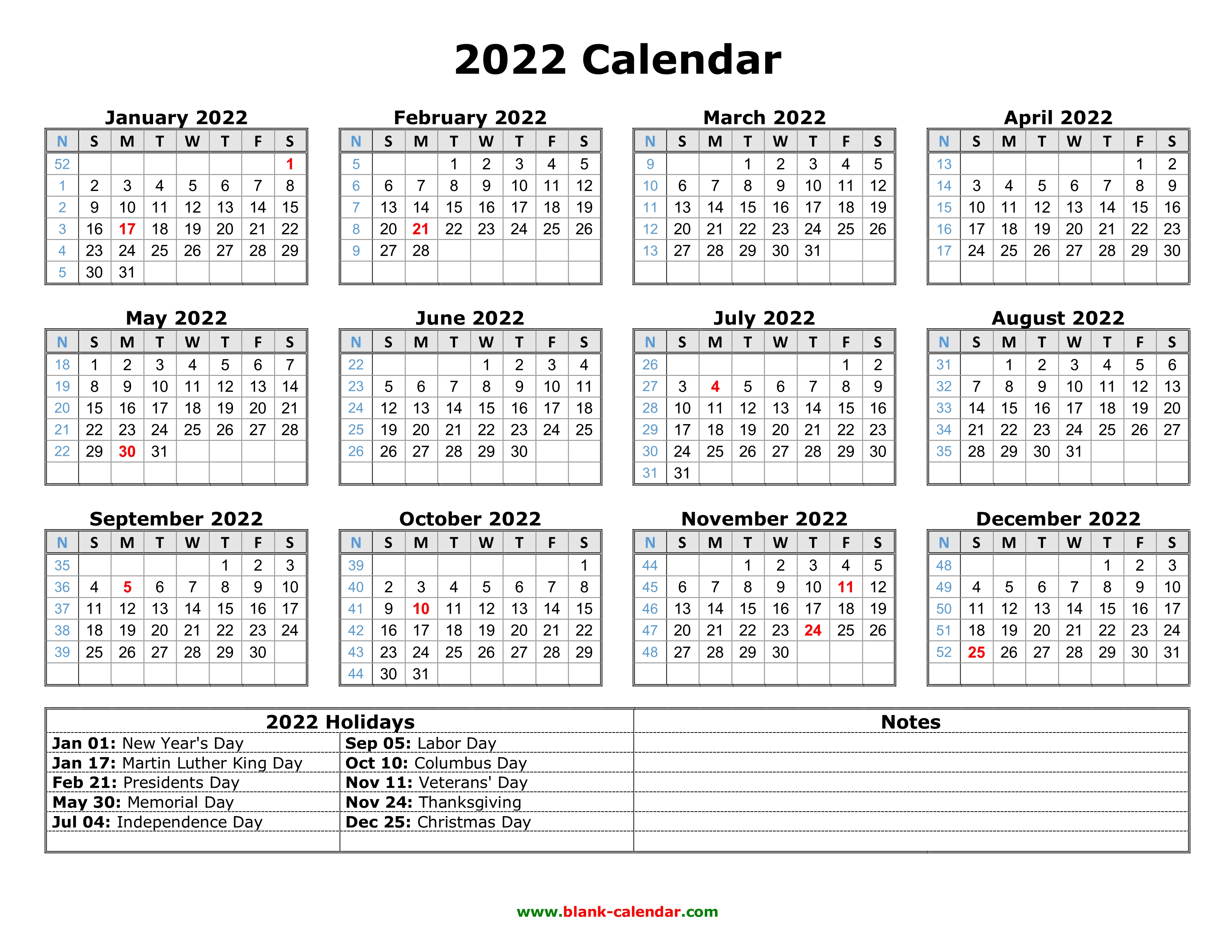 Some businesses must follow a calendar year when filing taxes, while others have flexibilit. Free Download Printable Calendar 2022 with US Federal ...