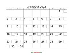 Free Download Printable Calendar 2022 in one page, clean ...