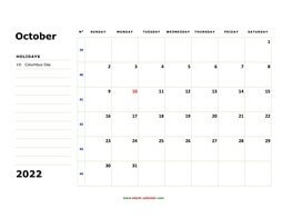 Free Download Printable October 2022 Calendar with check boxes