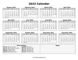 Free Download Printable Calendar 2022, month in a column ...