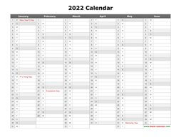 Free Download Printable Calendar 2022 with US Federal ...