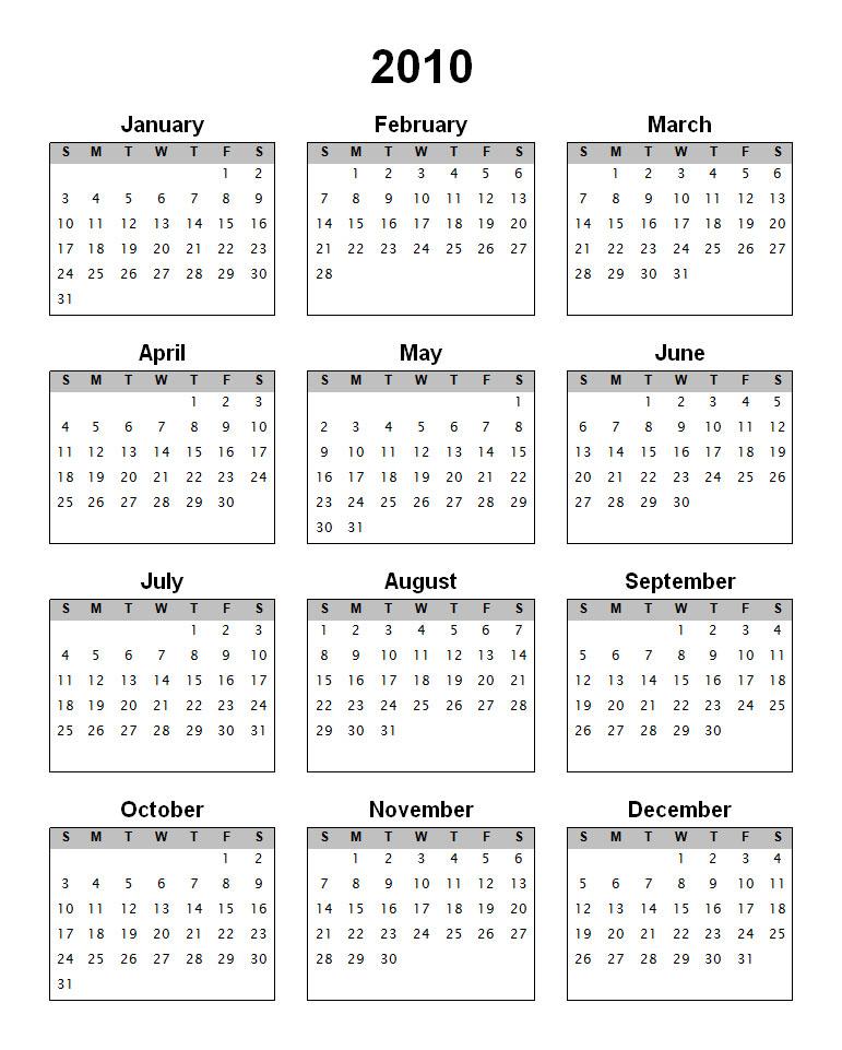 2010 Calendar Print Out