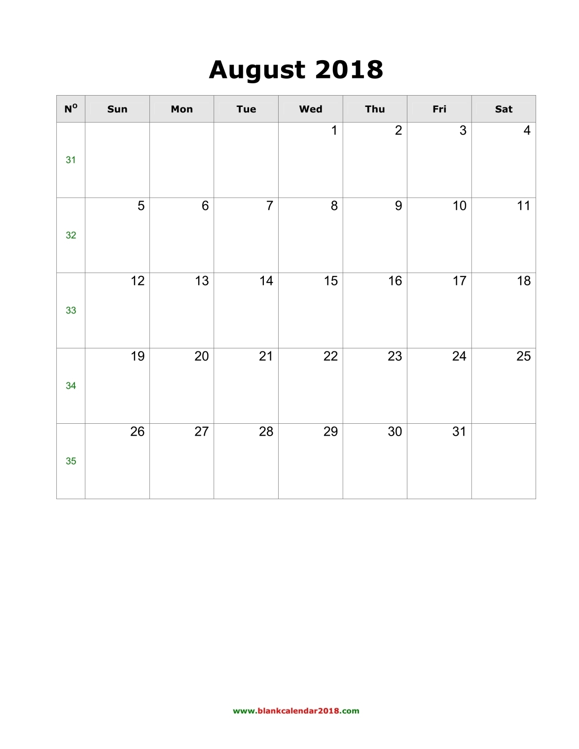 Blank Calendar for August 2018