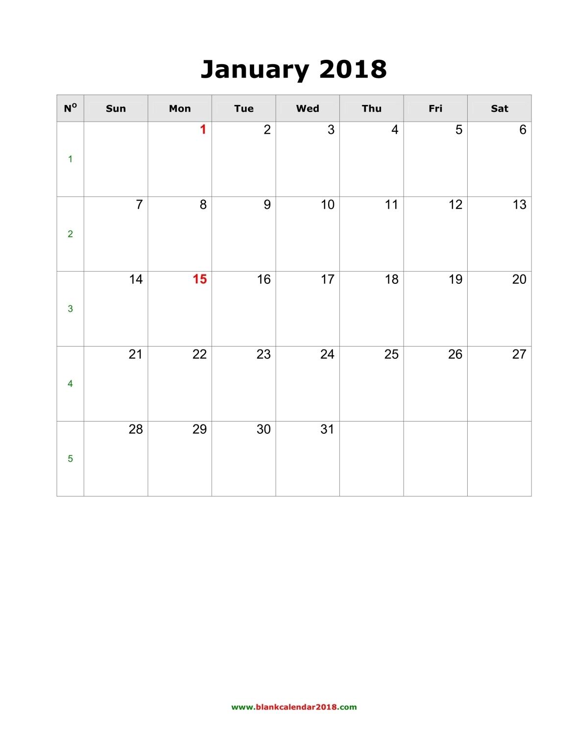 Blank Calendar For January