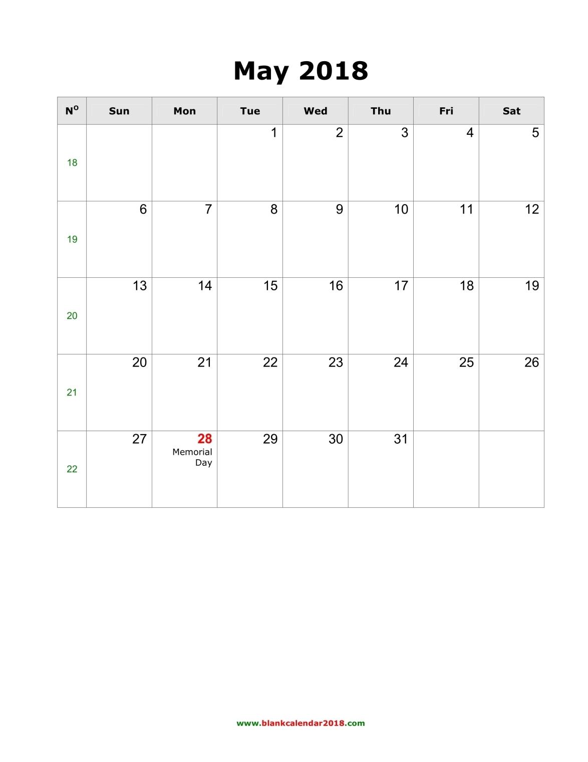 Blank Calendar For May