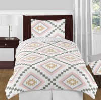 Aztec Pink & Gray Bedding Set - 4 Piece Twin Size By Sweet ...