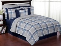 Plaid Navy Blue and Gray Comforter Set - 3 Piece Full ...