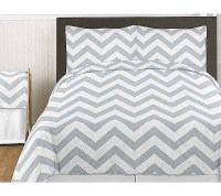 Grey & White Chevron Print Bedding Set