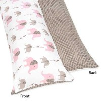 Elephant Pink & Taupe Body Pillow Cover - Blanket Warehouse